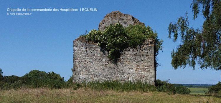 vue des vestiges de la chapelle romane de la commanderie des Hospitaliers à écuélin
