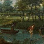tableau ancien représentant une pêche en rivière