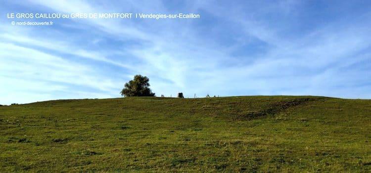vue de la colline avec au sommet le gros caillou ou grès de Montfort de Vendegies-sur-Ecaillon
