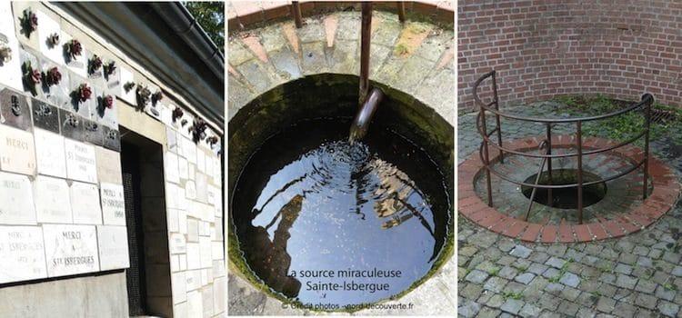 différentes vues de la source miraculeuse sainte-Isbergue