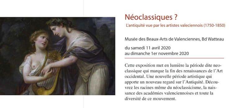 affiche de l'exposition intitulée neoclassique au musée des Beuax-Arts de Valenciennes