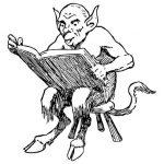 un diable lisant son grimoire