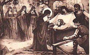scène du tableau représentant le miracle de sainte Emme ouvrant les yeux devant sainte Berthe