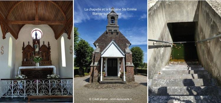 différentes vues de la chapelle et fontaine miraculeuse Sainte-Emme à Blangy-sur-Ternoise