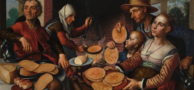 scène de fête flamande avec la dégustation de geutelingen
