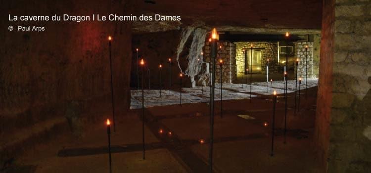 intérieurde la caverne du Dragon, le mémorial du Chemin des Dames