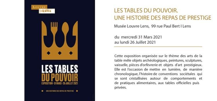 affiche de l'exposition les tables du pouvoir au musée louvre-lens