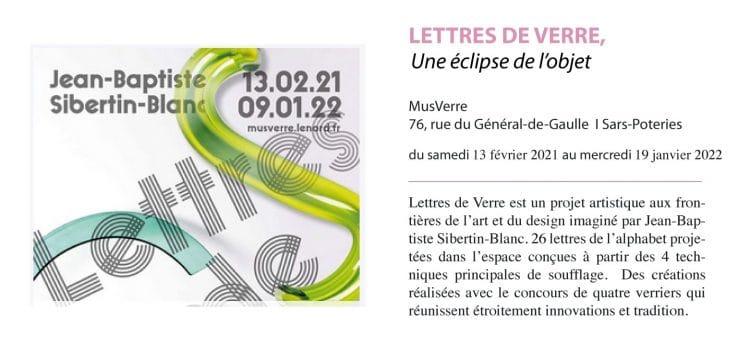 affiche de l'exposition Lettres de Verre au musée MusVerre de Sars-Poterie