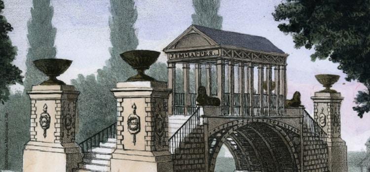 gravure ancienne du premier pont Napoléon de Lille