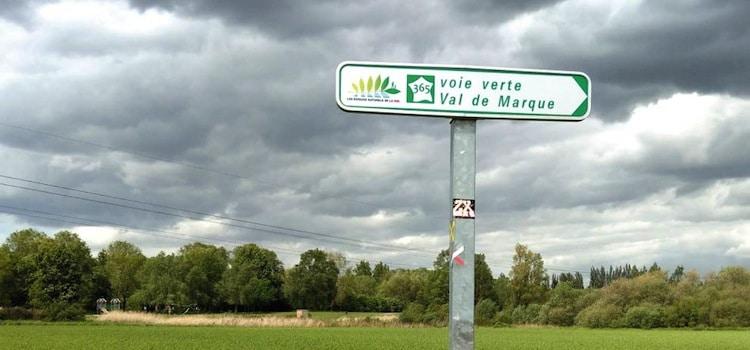 panneau de la véloroute du Valde Marque au départ de Fretin