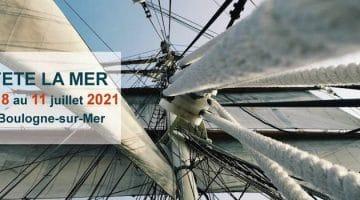 affiche de Fête la Mer de Boulogne-sur-Mer avec un trois-mâts