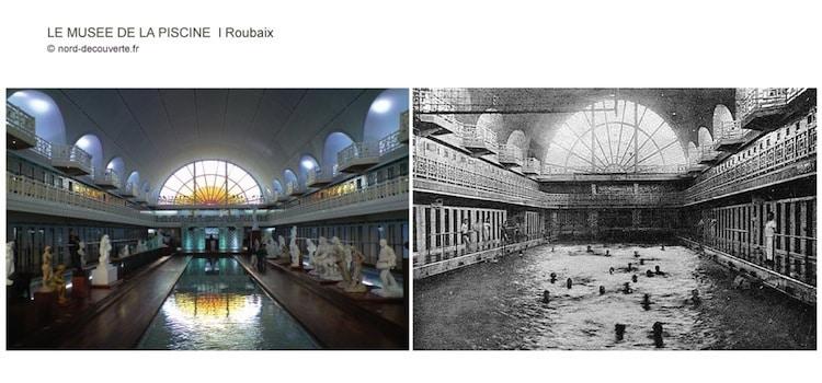 vue avant et après du bassin principal du musée la Piscine de Roubaix