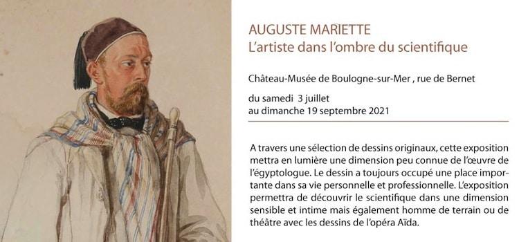 affiche de l'exposition auguste Mariette au château musée de Boulogne-sur-Mer
